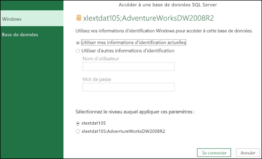 Power Query - Option de définition des informations d'identification au niveau du serveur
