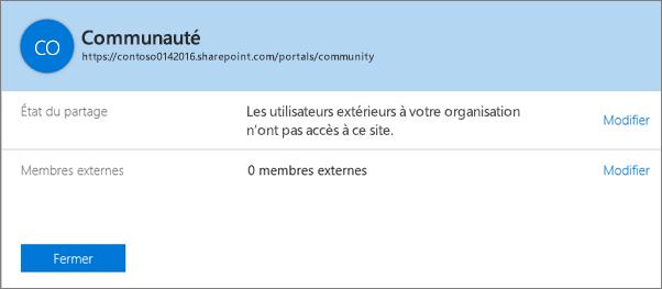 Boîte de dialogue État du partage pour une collection de sites spécifique avec le partage désactivé