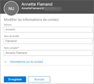 Entrez un nouveau nom pour la personne, puis sélectionnez Enregistrer.