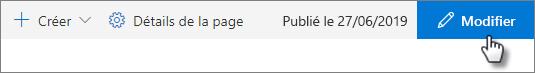 Bouton modifier dans la barre supérieure de la page