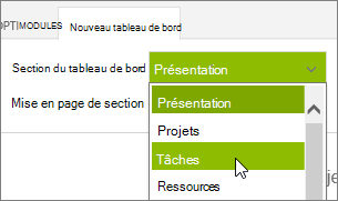 Liste de Section du tableau de bord