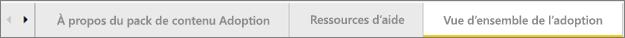 Utilisez les onglets disponibles en bas du tableau de bord pour accéder aux différentes pages