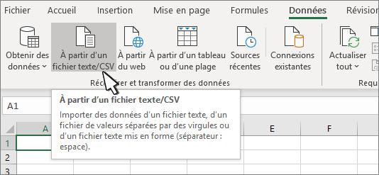 Sélection de texte/CSV dans l'onglet Données