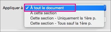 Option Totalité du document sélectionnée dans le menu Appliquer à