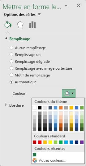 Options de couleur de graphique de mappage Excel pour les graphiques de catégorie