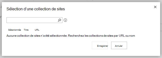 Sélectionnez une boîte de dialogue de collection de sites