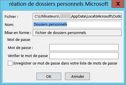 Si vous ne voulez pas protéger votre fichier .pst avec un mot de passe, sélectionnez OK.