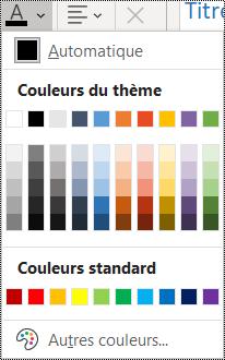 Capture d'écran de l'option de couleur de police dans le menu Accueil.