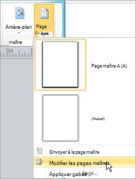 Sélection de modifier les Pages maîtres dans le menu de Pages maîtres