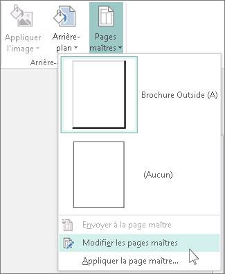 Capture d'écran du menu déroulant Modifier les pages maîtres dans Publisher