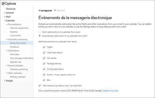Capture d'écran de la page Paramètres pour les événements à partir de messagerie
