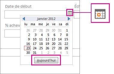 Sélecteur de dates avec le bouton Aujourd'hui sélectionné