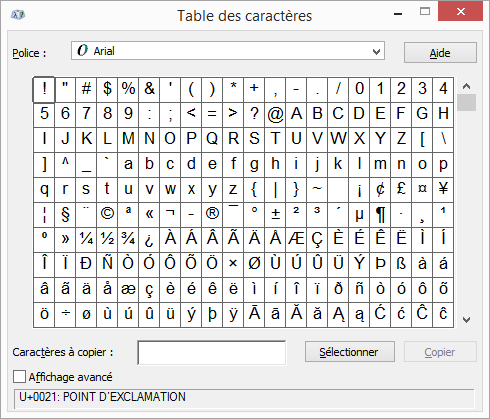 Ins rer ascii ou unicode latines symboles et des caract res support office - Table de caracteres speciaux ...