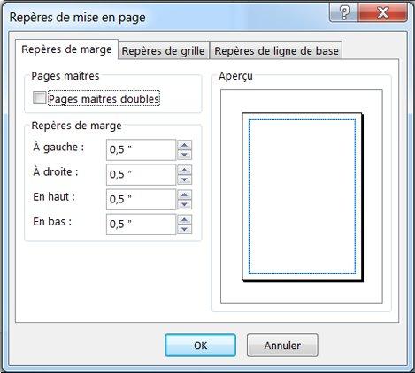 Boîte de dialogue Repères de mise en page Publisher