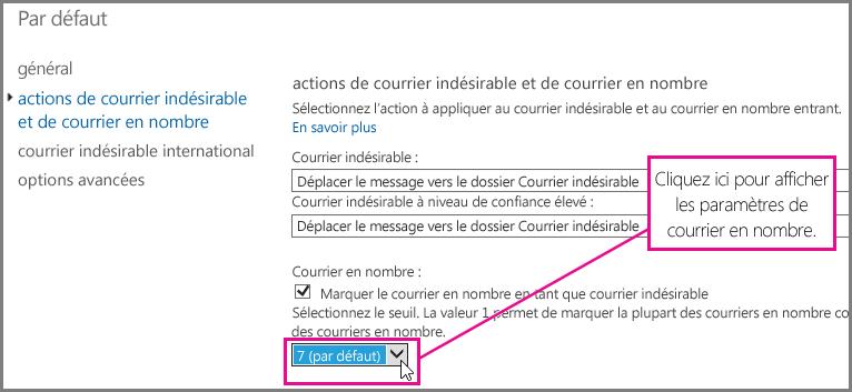 Définir le filtre de courrier en nombre dans Exchange Online