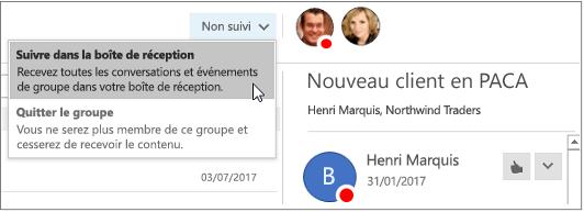 Se désabonner bouton dans l'en-tête de groupe dans Outlook 2016