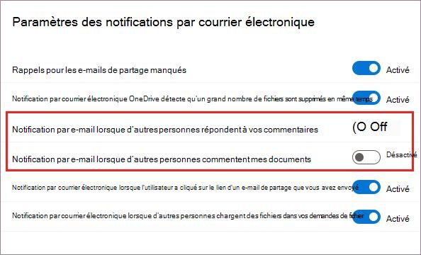 OneDrive Paramètres de notification