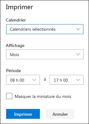 Paramètres d'impression du calendrier