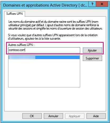 Ajouter un nouveau suffixe UPN