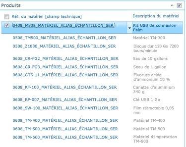 Le site Produits affiche une liste des produits disponibles dans votre bibliothèque SAP.