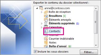 Exporter des contacts