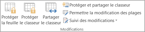 Options de protection des feuilles de calcul