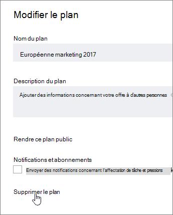 À partir de modifier un plan, cliquez sur Supprimer le plan