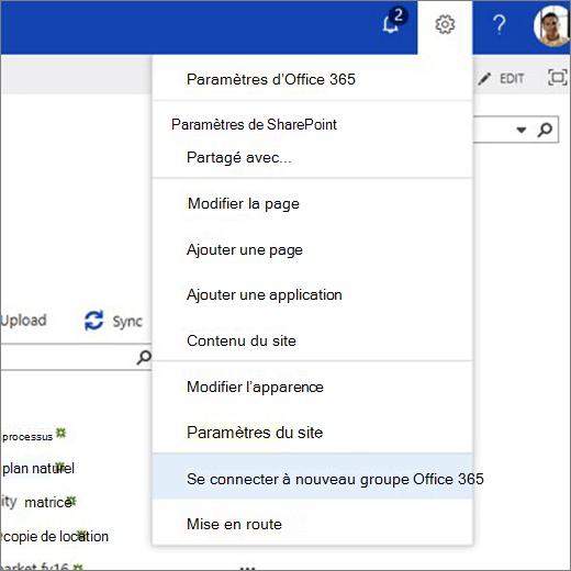 Cette image montre le menu de l'icône d'engrenage et l'option se connecter au nouveau groupe Office 365.