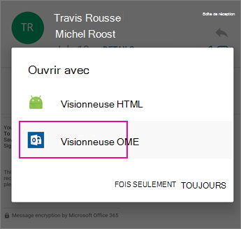 Visionneuse OME avec Outlook pour Android 2