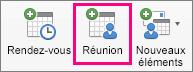 L'option Réunion est mise en évidence dans l'onglet Accueil.