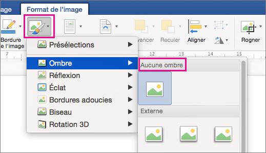 Option Effets de l'image mise en évidence sous l'onglet Format de l'image