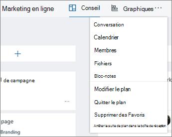 Cliquez sur les points de suspension pour une liste complète des outils de planificateur
