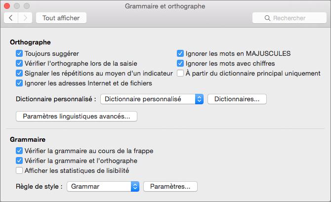 Modifiez les paramètres qui affectent la vérification orthographique et grammaticale dans la boîte de dialogue Grammaire et orthographe .