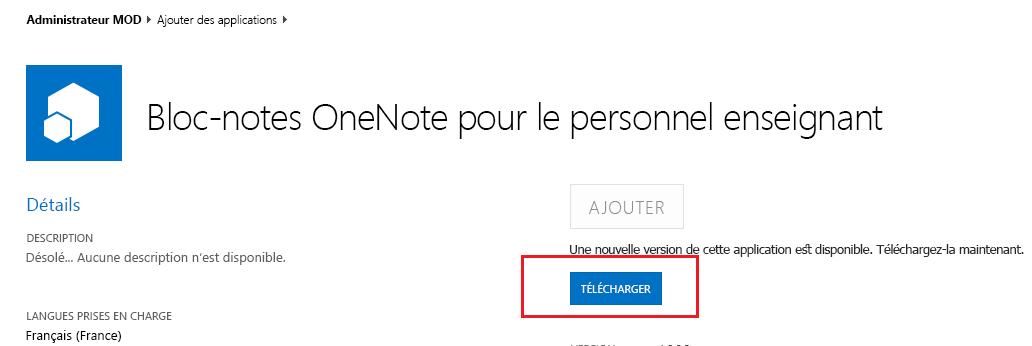 Capture d'écran de la boîte de dialogue de mise à jour pour l'application Créateur de blocs-notes pour le personnel enseignant.