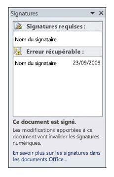 Volet Signatures, erreur récupérable
