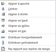 Options d'alignement d'objets dans Publisher 2010