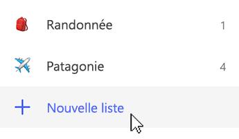 Capture d'écran dans laquelle Nouvelle liste est sélectionné