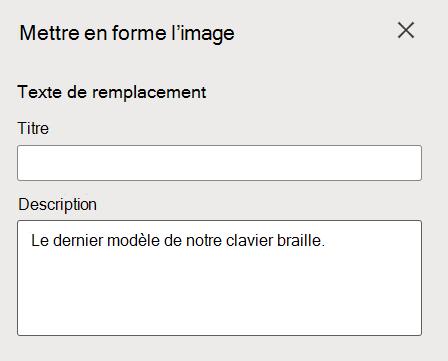 Volet Format de l'image de texte de alt dans Word pour le web.