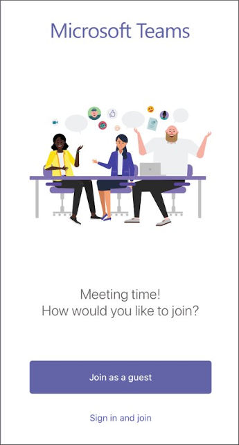 Bouton pour participer à la réunion en tant qu'invité
