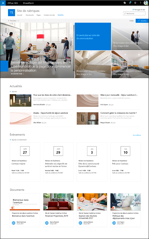 Conception de rubrique du site SharePoint communication