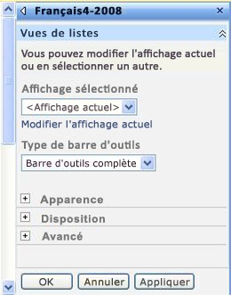 Volet d'outils du composant WebPart dans lequel vous pouvez configurer les propriétés du composant