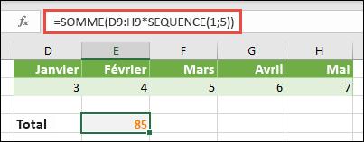Utilisez des constantes de matrice dans des formules. Dans cet exemple, nous avons utilisé = somme (D9: H (* séquence (1, 5))