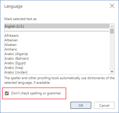 désactiver la vérification orthographique automatique