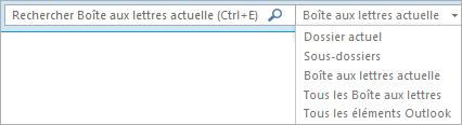 Dans Outlook, utilisez la zone Rechercher, ou choisissez une liste de boîtes aux lettres ou un dossier pour identifier le groupe d'étendue.