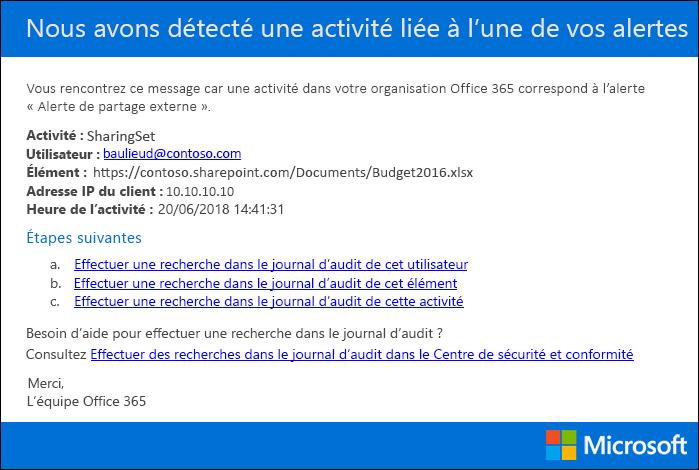 Exemple d'une notifications de courrier électronique envoyée d'une alerte d'activité