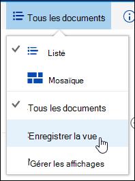 Enregistrer un affichage personnalisé d'une bibliothèque de documents dans Office 365