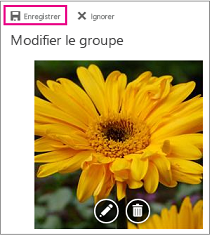 Option modifier la photo avec le bouton enregistrer en surbrillance