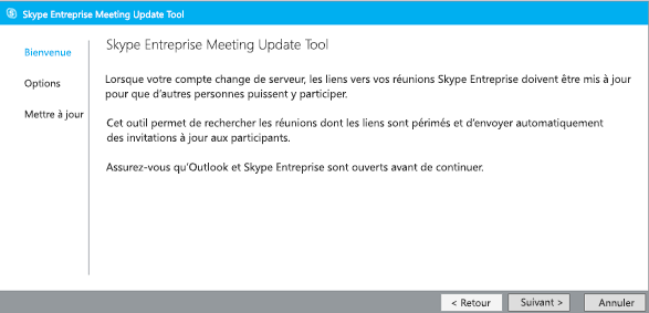 Capture d'écran de la page Bienvenue de Meeting Update Tool (outil de mise à jour des réunions Lync)