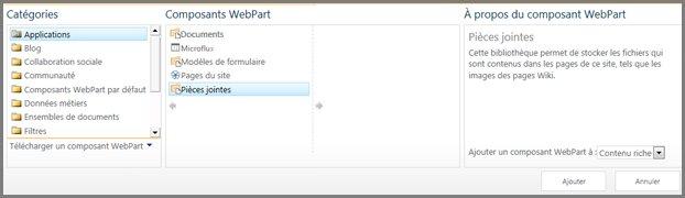 Catégories de composant WebPart