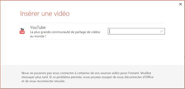 Il s'agit de la boîte de dialogue Insérer une vidéo en ligne de PowerPoint2013.